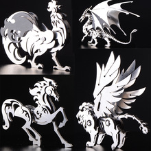 High Quality Elk / Dragon Animal Stainless Steel 3D Metal Kit Teka-teki Assembling Model Kreatif Hari Lahir Hiasan Mainan Koleksi