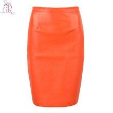 Весна новое поступление PU искусственная кожа Высокая талия молния сзади миди Узкие повседневные OL юбка в черном/оранжевом цвете