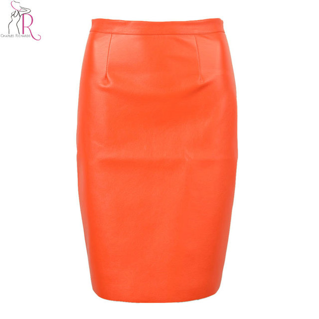 eed0afde03 2017 Spring New Arrival PU Faux Leather High Waist Back Zipper Midi Tight  Pencil Casual OL Skirt in Black/Orange