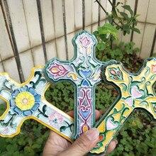 Христианские принадлежности Крестовая скульптура Керамические ремесла Окрашенные деликатные украшения песок украшение стола праздничные подарки украшение дома