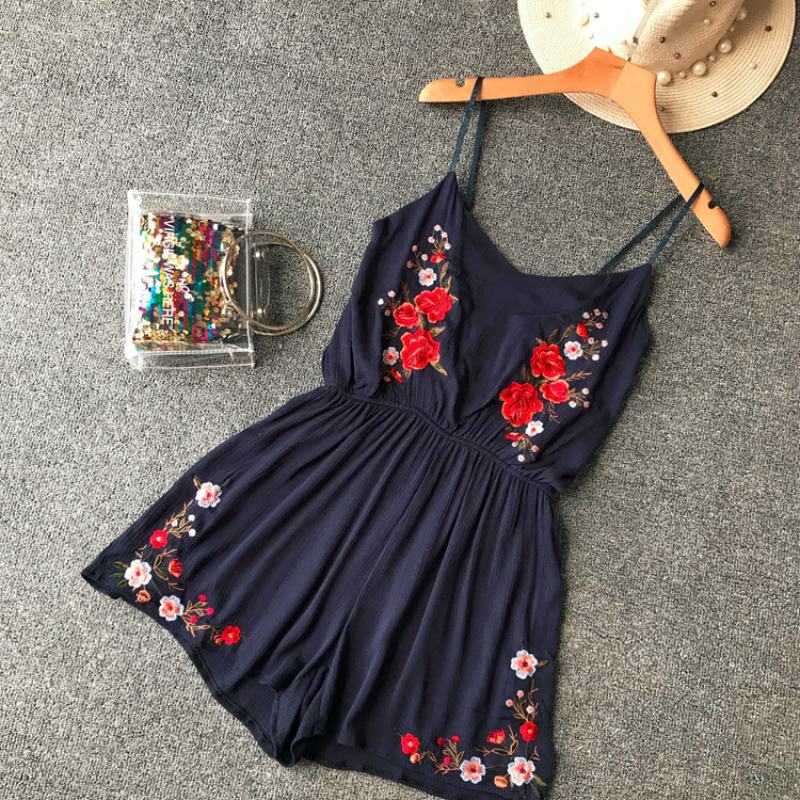 Summer Women Cotton Linen Floral   Jumpsuit   Holiday Beach Thin Strap Embroidery Playsuits Ladies Rompers Loose Leg Short Overalls