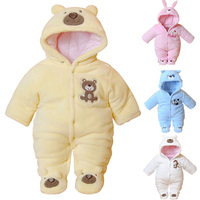 Brand Winter Warm Baby Rompers Cotton Thick Cartoon Hooded Baby Boy Clothing For 3 12M Newborn