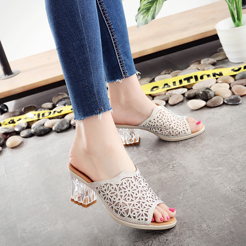 e5bf9c7fae19 2018 New Summer Rhinestone Shoes Woman Sandals Slippers Fish Head Thick  with High Heels Crystal Slippers Women Fashion Shoes-in Middle Heels from  Shoes on ...