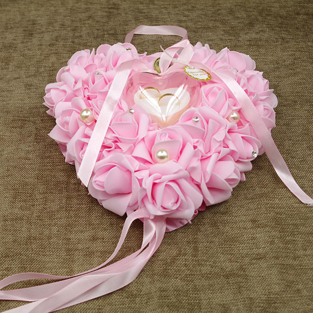 PINKSEE Romantic Heart Shape Rose Flowers Valentine Day Gift Holder ...