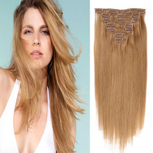 Clip In Human Hair Extensions Color #18 Real Human Hair Full Head Clip In Extensions 70G 7PCS Clip In Brazilian Remy Human Hair