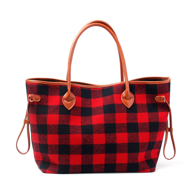 Personalize Women Tote Bag Black and Red Plaid Flannel Christmas Fashion Handbag With Faux Leather Handle and Bottom vintage women s tote bag with strap and plaid design