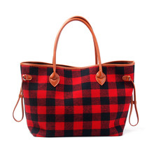 3b2534ac4d Personalize Women Tote Bag Black and Red Plaid Flannel Christmas Fashion  Handbag With Faux Leather Handle