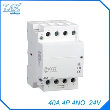 Din rail household AC contactor  40A 4P 4NO 24V Household contact module Din Rail Modular contactor
