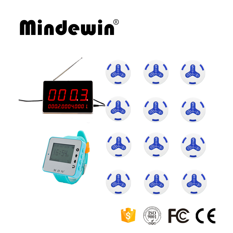 Mindewin Wireless Calling System, 1pc Calling Watch Pager +1pc LED Display +12pcs Call Button For Restaurant, Hotel, Cafe ShopMindewin Wireless Calling System, 1pc Calling Watch Pager +1pc LED Display +12pcs Call Button For Restaurant, Hotel, Cafe Shop