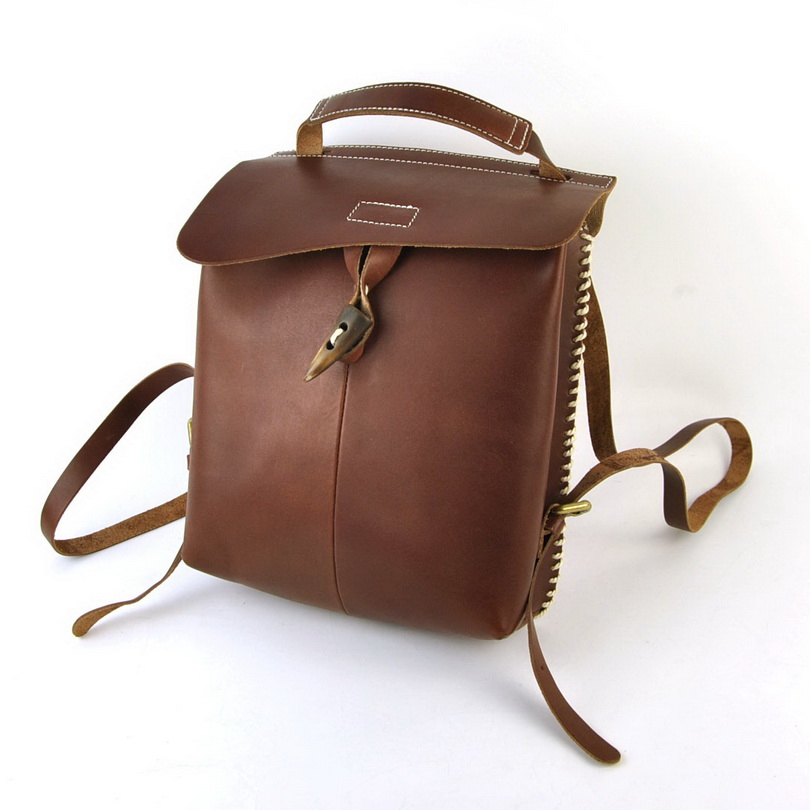 Women Vintage Genuine Real Leather Backpack Shoulder Bags Cross Body Bag Retro School Book Purse Small Fashion Flap Satchel