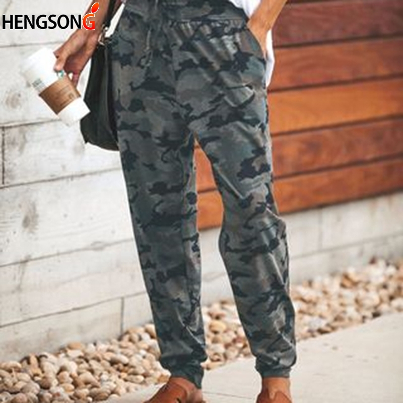 Women Camouflage Printed Trousers 2019 Spring High Waist Pants & Capris Women Pants Joggers Slim Drawstring Sweatpants