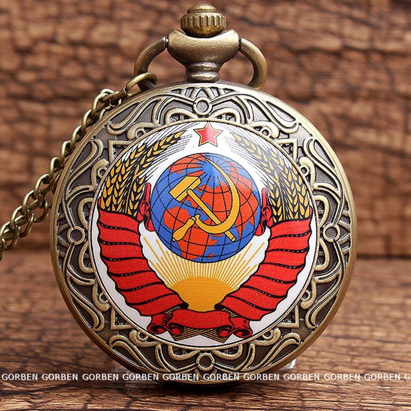 Vintage USSR Soviet Badges Sickle Hammer Pocket Watch Necklace Bronze Pendant Chain Clock CCCP Russia Emblem Communism Men Women 33
