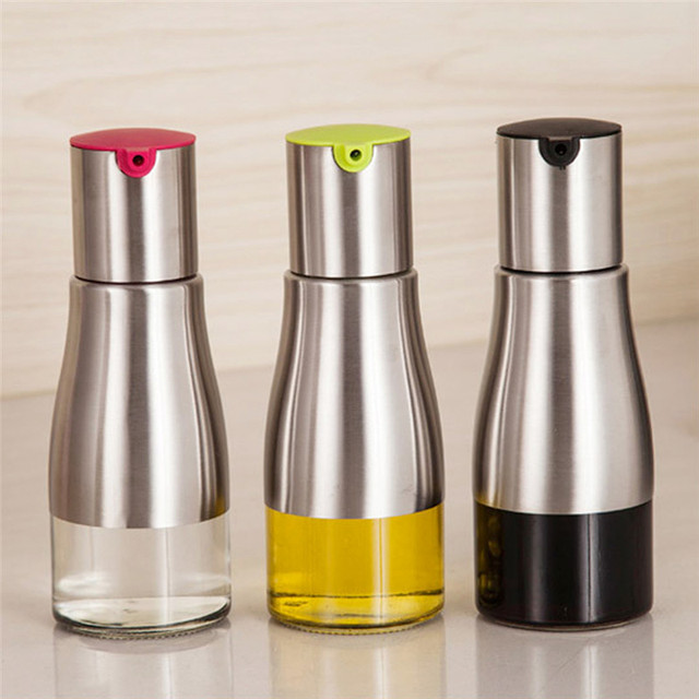 320ml Olive Oil Bottle Soy Sauce Vinegar Seasoning Storage Can Glass Bottom  Stainless Steel Body Kitchen
