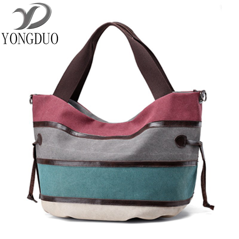 Canvas Bag Tote Striped Women Handbags Patchwork Women Shoulder Bag New Fashion Sac a Main Femme De Marque Casual Bolsos Mujer national chinese style bags embroidery flowers handbags ethnic canvas handmade tote women s handbags sac a dos femme