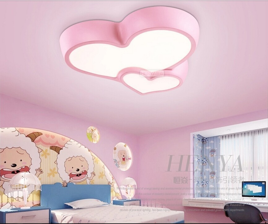 Romantic led ceiling creative heart shaped cartoon children\'s room ...
