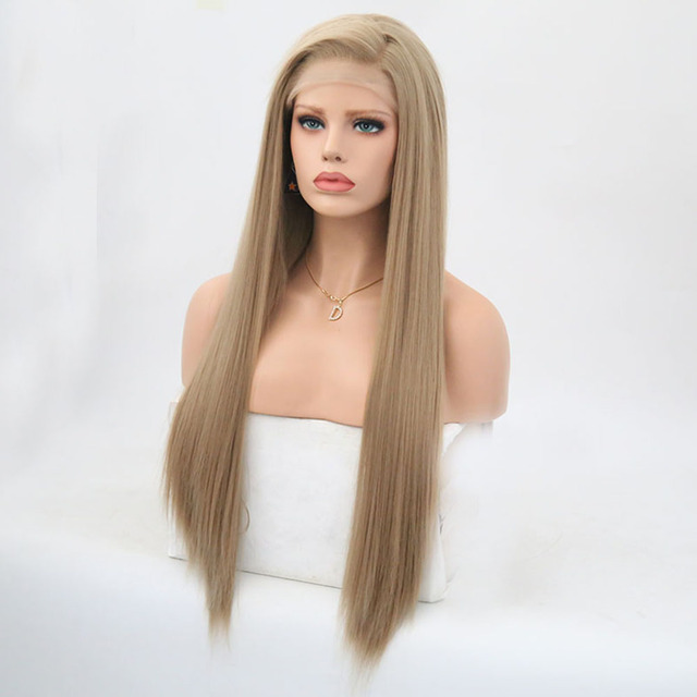Rongduoyi Long Silky Straight Hair Synthetic Lace Front Wig Ash Blonde Side Part Cosplay Wig Glueless Front Lace Wigs for Women 3
