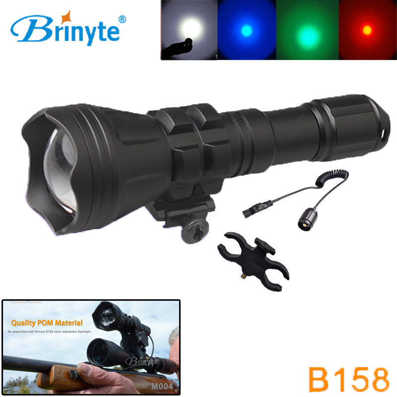 Brinyte B158 Night Hunting Flashlight LED Cree XM-L2 U4 Green Red White Color Beam Zoom with Gun Mount Remote Control Switch securitying red green white hunting led flashlight torch xm l2 u4 led 5 mode zoomable waterproof flash light remote switch