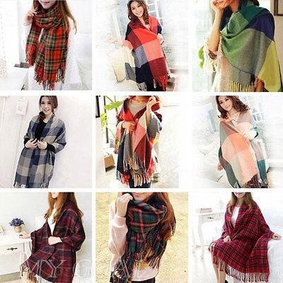 Women Wool Tassels Plaid Pashmina font b Tartan b font Warm Winter Neck Soft Scarf Shawl