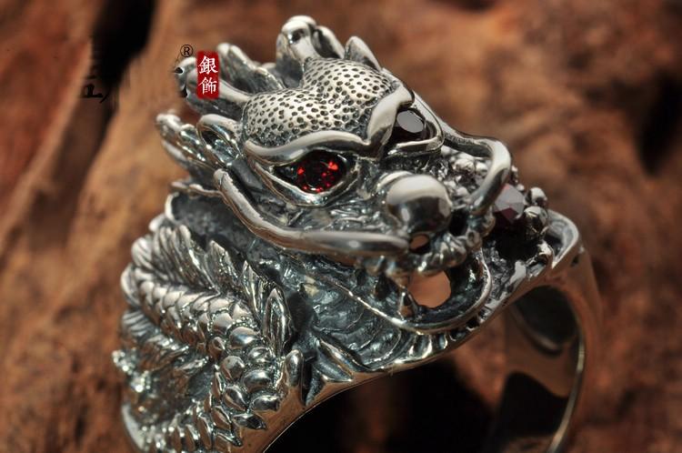 Awesome 925 Sterling Silver Red Eyes Dragon Ring