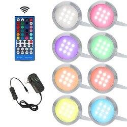 Aiboo RGBW RGB + أبيض LED تحت إضاءة الخزانات النازل 8 مصابيح مع الأشعة تحت الحمراء التحكم عن بعد عكس الضوء للمطبخ إضاءة ديكورية