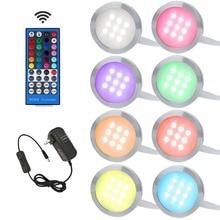 Aiboo RGBW RGB + beyaz altında LED dolap lambası Downlight 8 lambalar IR uzaktan kumanda ile kısılabilir mutfak dekorasyon ışıklandırma