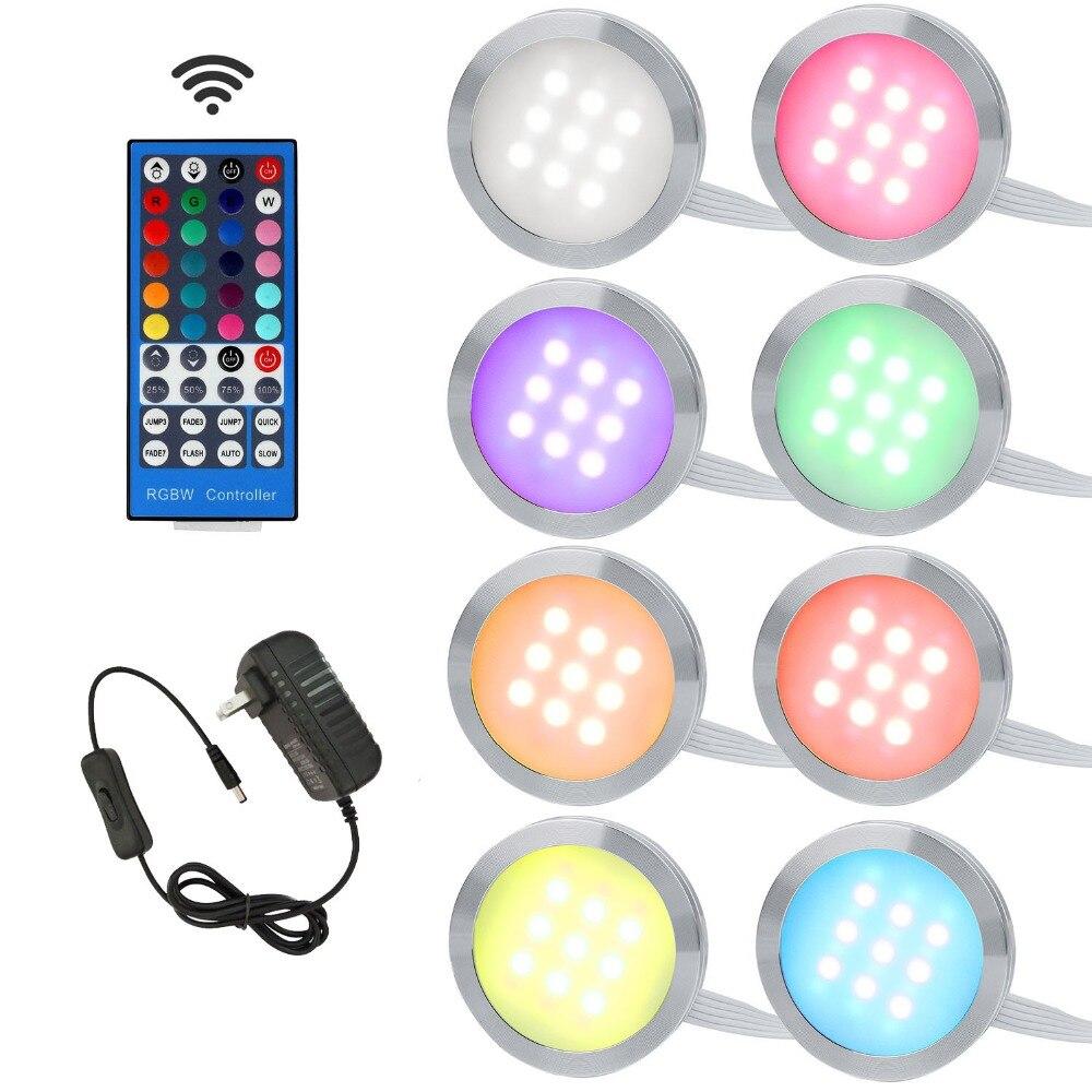 Aiboo RGBW RGB + blanc LED sous les lumières de l'armoire Downlight 8 lampes avec télécommande IR Dimmable pour l'éclairage de décoration de cuisine