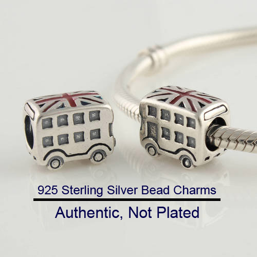 Fits For Pandora Bracelets Charms with UK Flag 100% Sterling Silver Beads  Free Shipping(