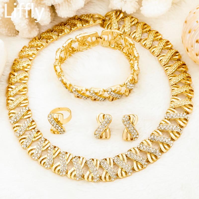 Liffly Nigeria Jewelry Sets for Women Africa Beads Jewelry Set Dubai Gold Wedding Bridal Fashion Jewelry Sets Womens Accessories
