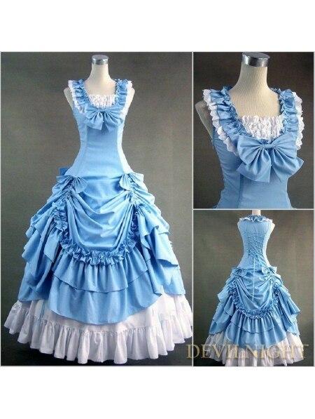 Классический Синий и Белый Рукавов Готический Викторианской Лолита Платье Викторианской Платье Форме