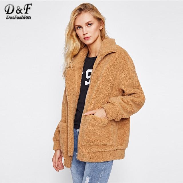 c62614992b Dotfashion Camel Drop Shoulder Oversized Fleece Jacket Winter Female New  Style Zipper Collar Long Sleeve Preppy Oversized Coat