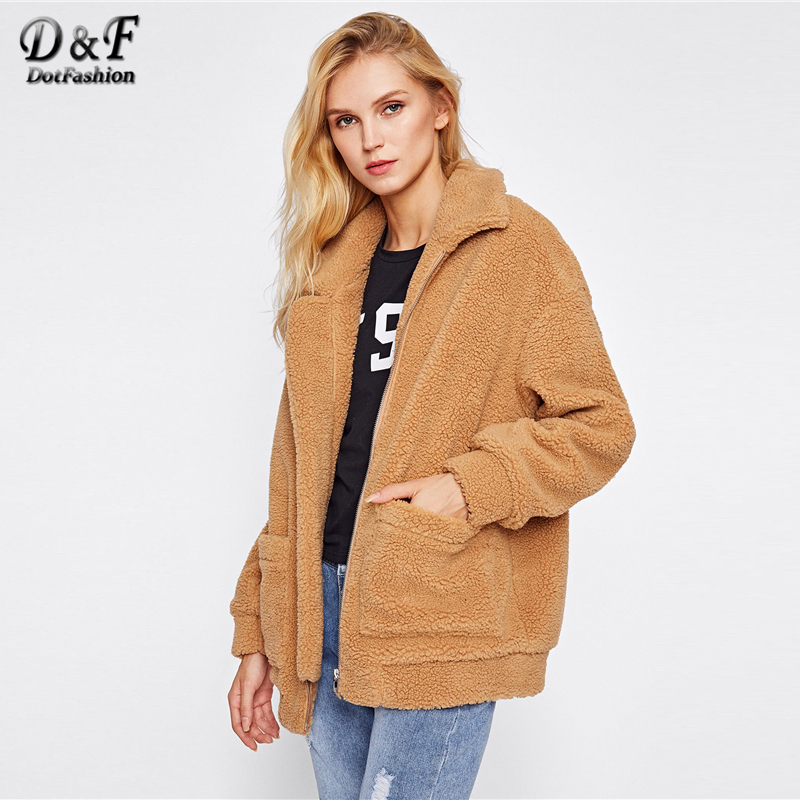 Dotfashion Camel Drop Shoulder негабаритных флисовая куртка зима женский новый стиль молнии воротник с длинным рукавом Опрятный негабаритных пальто
