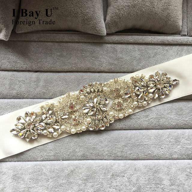 I Bay U Rhinestone Beaded Trim Sparkly Diamond Bridal Belt For Wedding Dress Belt Pearls Rhinestone Belts For Wedding Dresses