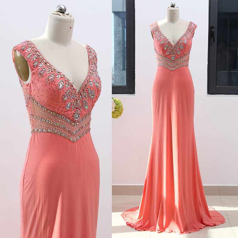 a74bd1be16e MACloth Straps V Neck Sheath Long Jersey Peach Prom Dress Gorgeous Wedding  Party Formal Gown 262048-in Bridesmaid Dresses from Weddings & Events on ...