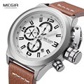 2016 Megir Mens Fashion Chronograph Luminous Hands Calendar Date Black Leather Band Casual Military Quartz Wrist Watches 2029