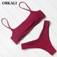 OMKAGI Brand Swimsuit Swimwear Women Sport Bikinis Set Swimming Bathing Suit Beachwear Sexy Push Up Brazilian