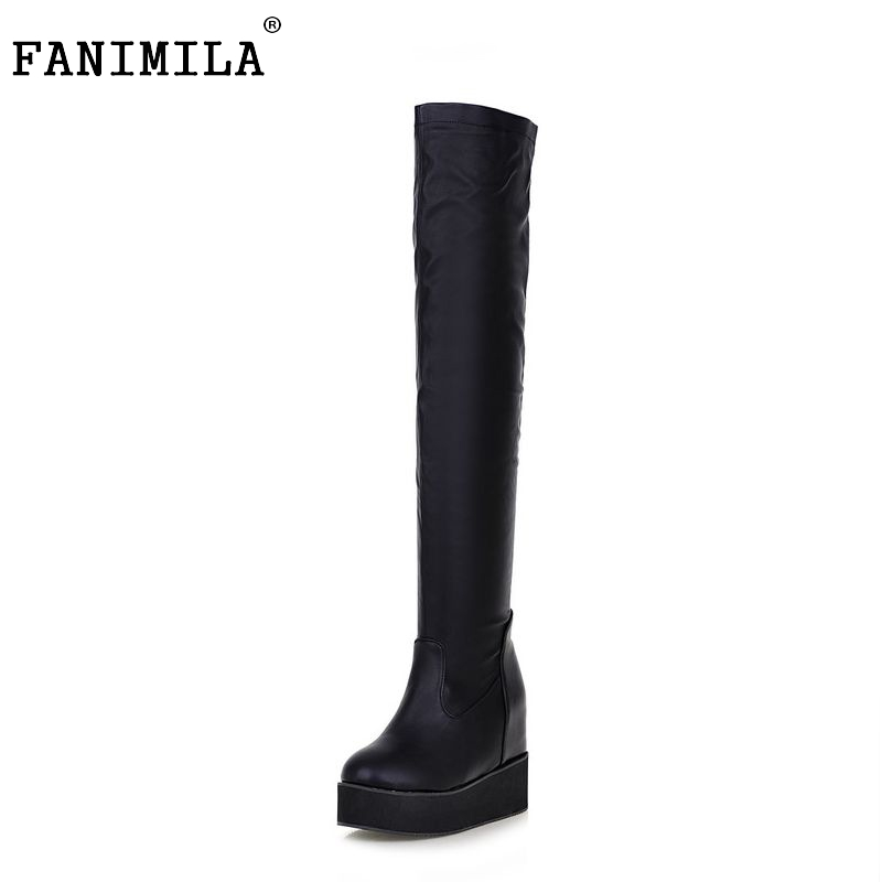ladies wedges over knee boots women snow boot warm winter botas vintage fashion platform footwear heels shoes P19917 size 32-43