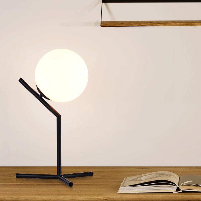 Desk Lamps Black white Northern Europe Minimalist Modern Simple Glass Ball Table Lamp For Living Room Desk Light Stand lamp northern europe simple design bedroom table light modern fabric study room desk lamp creative wedding gift lighting fixtures