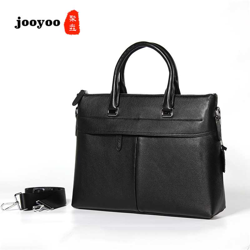 New Genuine Cow Leather Large Capacity Man's Bag Horizontal Business Man's Handbag Cowhide Briefcase Computer Bag Jooyoo