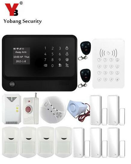 YoBang Security Touch Screen GSM Wireless Alarm System Smart Home Smoke Fire Alarm Detector 433MHZ RFID Android IOS APP Controls - 2