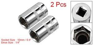 Image 5 - Uxcell 2 Pcs 1/4 zoll Stick 10mm Cr V 6 Punkt Flach Buchse für Schwere  duty Pneumatische Werkzeuge Heißer Verkauf