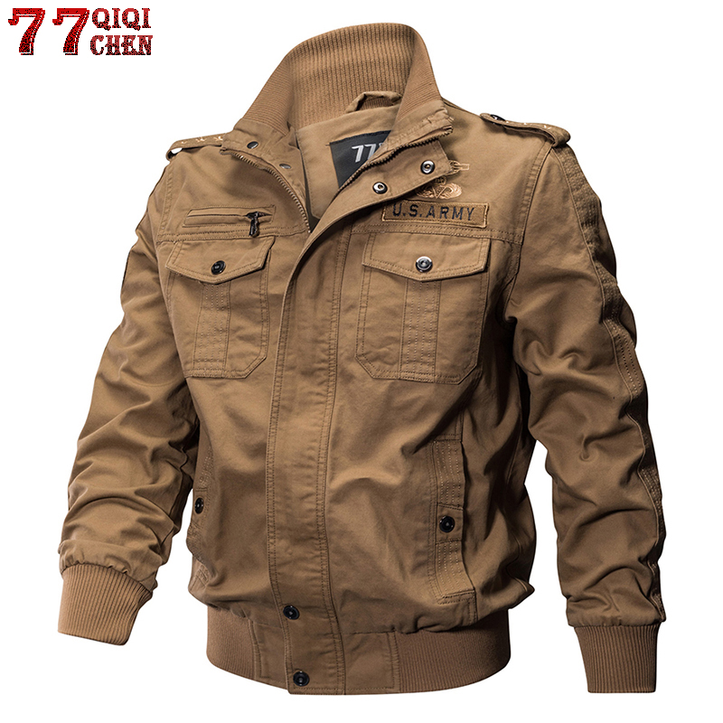 QIQICHEN Men Military Pilot Jackets Bomber Cotton Coat Tactical Army Jacket Male Casual Air Force Flight Jacket Plus Size M-6XL