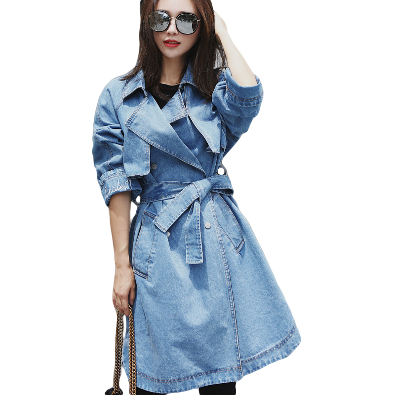 2018 Women Loose Denim Coat Female Spring Long Trench Coat Womens Windbreaker With Belt Button Jeans Coats Femme Outwear CM2759