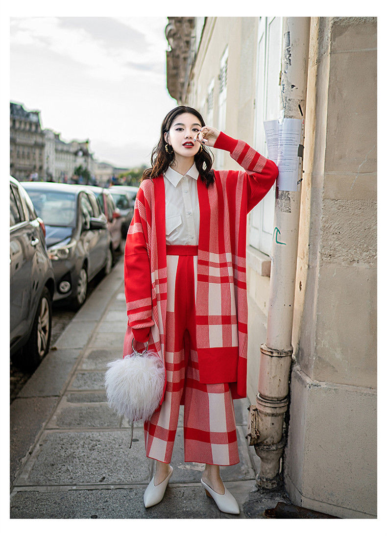 Plaid twopiece suit women shirt casual long-sleeved knit cardigan wide-leg pants casual v neck flouncing hem single breasted long sleeves solid color women s knit cardigan