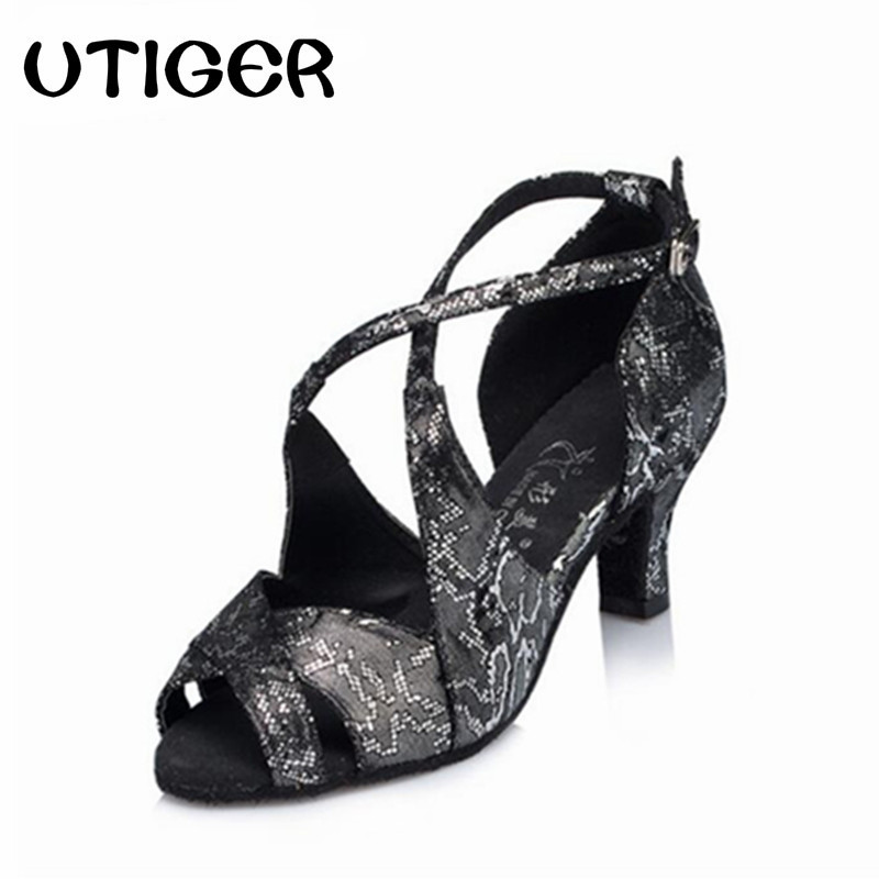 2017 Women s Latin Ballroom Salsa Dancing Shoes White Black Sandals High  Heel 5CM 6CM 7.5CM d3ed0fac34bc