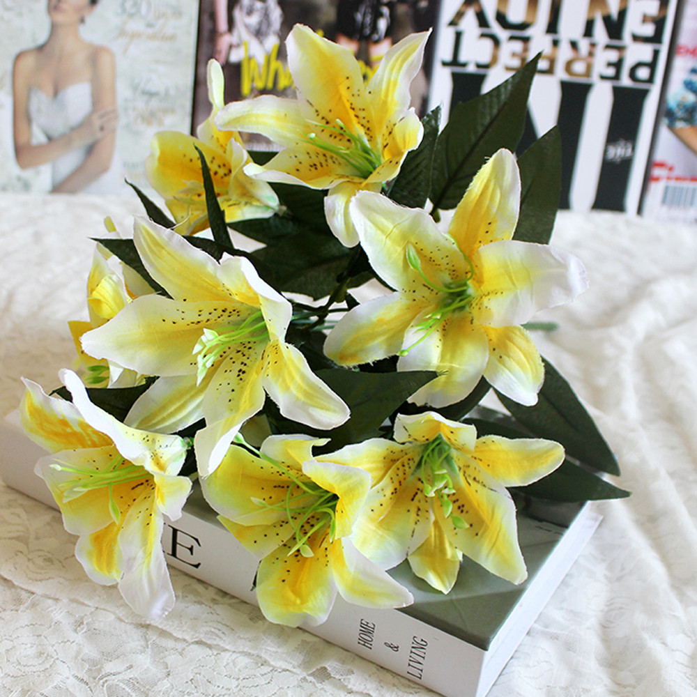 10 heads artificial fake silk lilies flower bridal bouquet wedding 10 heads artificial fake silk lilies flower bridal bouquet wedding party decor 2018 party garden decor bouquet european style in artificial dried flowers izmirmasajfo Image collections
