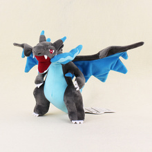 25CM Plush toys Mega Charizard X Dinosaur Soft Stuffed Dolls Animals Baby Kids toys In Stock