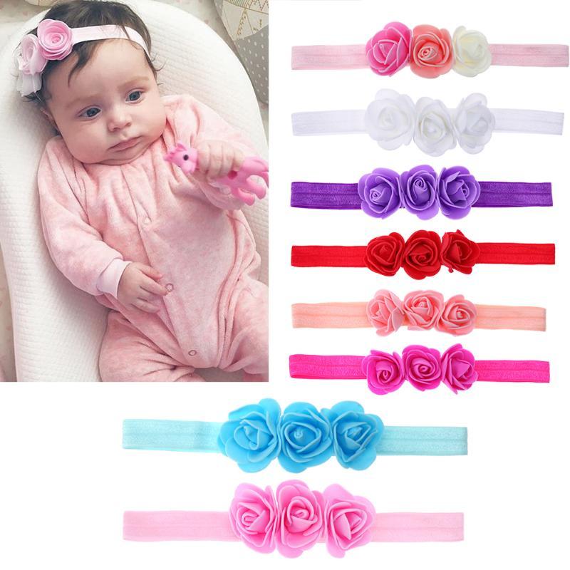 New Baby Three Flowers Headband Ribbon Hair Bands Handmade DIY Headwear