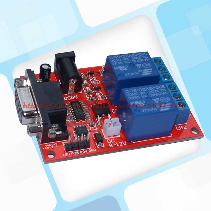 NEW SR-104A Serial Control 2 Way Relay Module Delay Relay Single Chip Microcomputer Controller