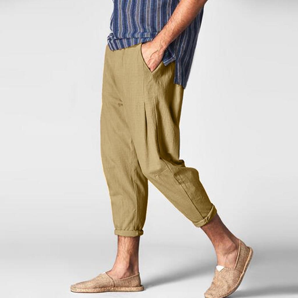 2019 Cotton Linen Casual Harem Pants Jogger Men's Summer