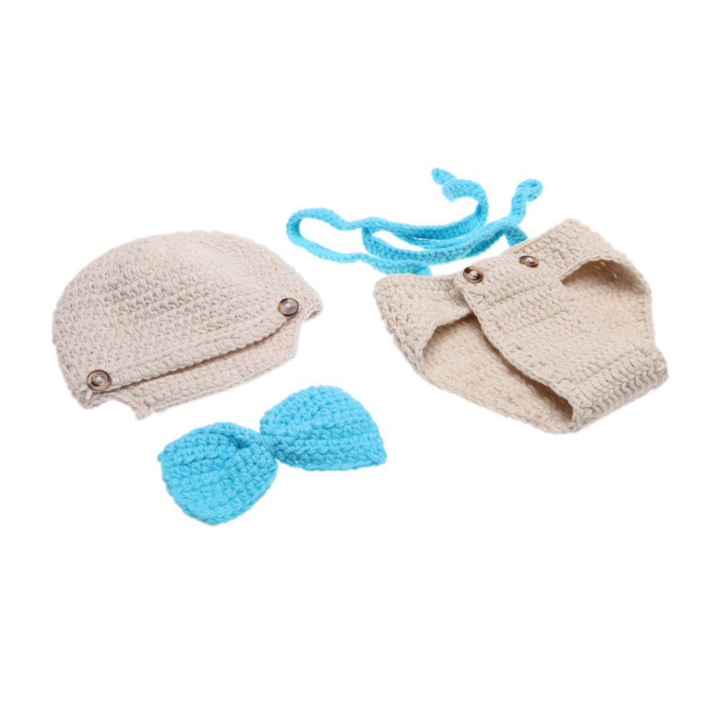 ABWE Baby Infant Bow Tie Suspender Hat Suit Crochet Knitting Costume Soft Adorable Clothes Photo Photography Props
